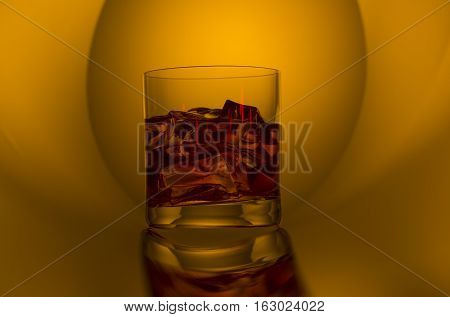 Whiskey with ice in a glass shot on the mirror bent plastic straw. Background color of whiskey