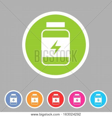 Sport nutrition food icon flat web sign symbol logo label set