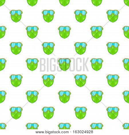Green paintball mask pattern. Cartoon illustration of green paintball mask vector pattern for web