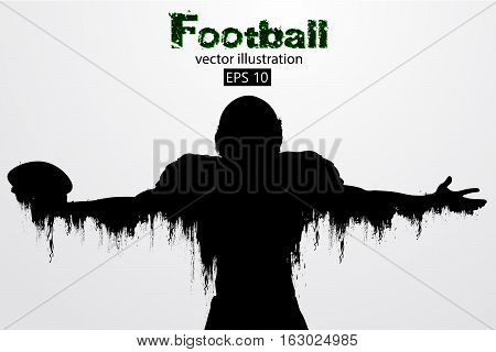 silhouette of a football player. Background and text on a separate layer, color can be changed in one click. Rugby. American football. Vector illustration