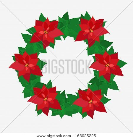 Christmas Wreath. Poinsettia Plant