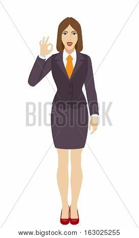 OK! Smiling businesswoman show a okay hand sign. Full length portrait of businesswoman in a flat style. Vector illustration.