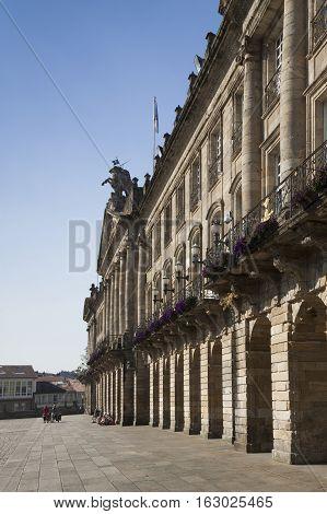 Spain Galicia Santiago de Compostela bike pilgrims at Obradorio Sq in front of the City Council biulding