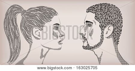 Woman female girl lady men male people human white loving couple love face to face profile. Vector horizontal beautiful lovely sign signboard close-up side view pop art illustration beige background