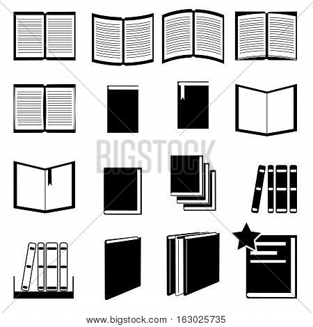 Book black and white flat icon set sixteen icons