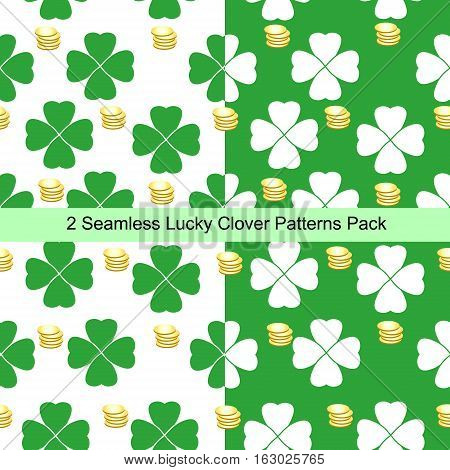 Two seamless lucky clover patterns pack st. Patrick's Day
