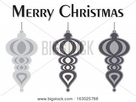 A Set of Decorative Black and White Christmas Tree Ornaments