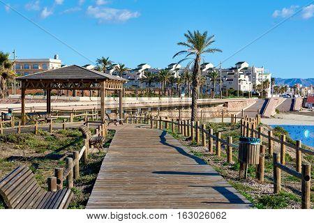 Pedestrian walkway in Retamar park. Province of Almeria. Spain