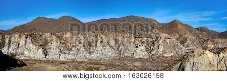 Panorama of Tabernas Desert one of the most unique deserts of the world. The only European desert and one of the famous landmarks in Spain. Andalusia Province of Almeria