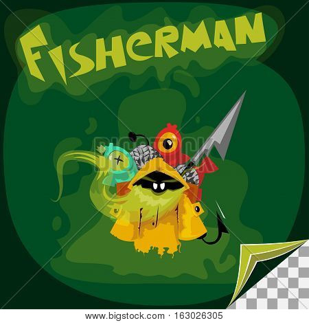 cartoon character of undead fisherman with his catch