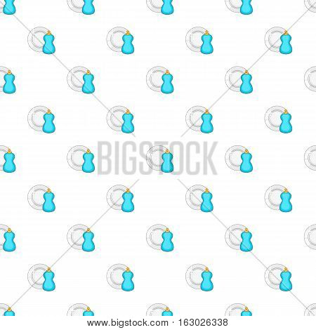Blue bottle of dish soap and clean plate pattern. Cartoon illustration of blue bottle of dish soap and clean plate vector pattern for web