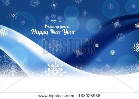 Vector We wish you a Happy New Year abstract dark blue background with light and dark wave and snowflakes.