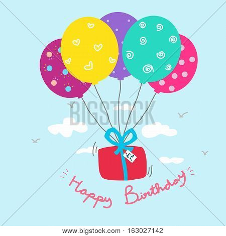 Happy Birthday gift box and colorful balloon cartoon illustration
