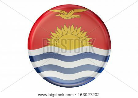 Badge with flag of Kiribati 3D rendering isolated on white background