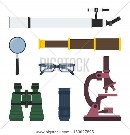 Vector set of magnifying and research equipment: telescope magnifier pirate spyglass glasses binoculars monocular microscope.