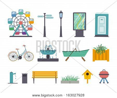 Vector set of park and gardens elements: ferris wheel street light guidance sign map panel wc bike fountain boat with oars flowerbed stand-pipe litter bin bench pavement and grass nesting box barbecue grill.