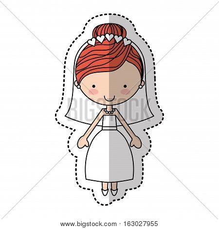 Newly married woman character vector illustration design
