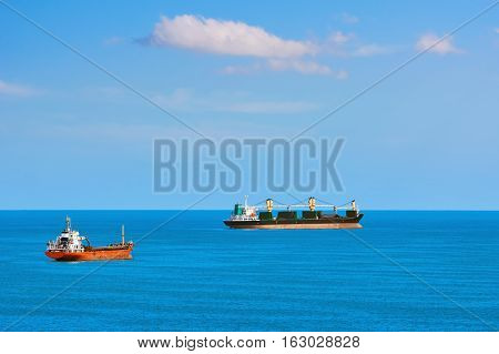 Cargo Ships At Anchorage