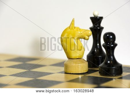 wooden horse a Queen and a pawn on a chess Board table intellectual game