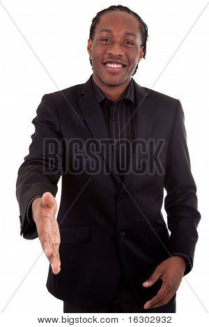 An African American businessman giving a hand poster