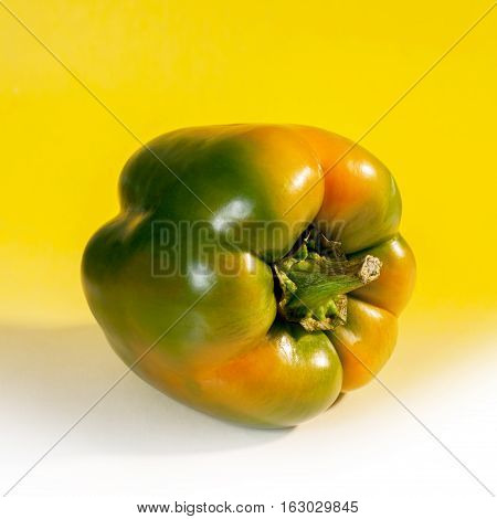 Green Bell peppers on a color background.