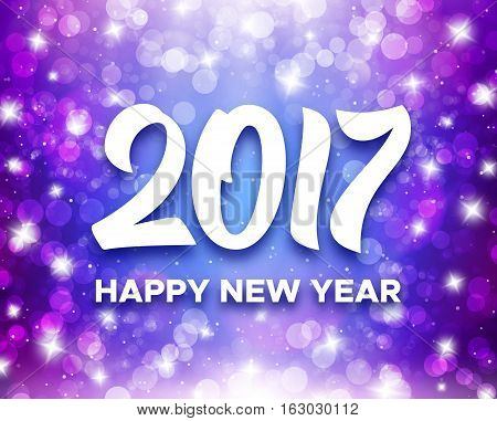 Happy New Year 2017 greetings on purple blurred background with magic bokeh lights and sparkles. Vector greeting card design template with typography