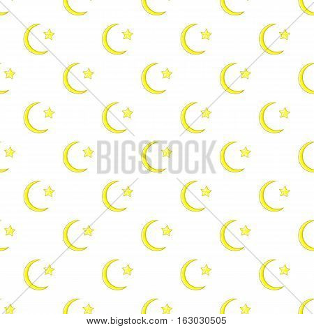 Crescent and star pattern. Cartoon illustration of crescent and star vector pattern for web