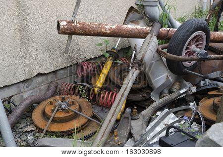 Pile of scrap metal and automotive junk