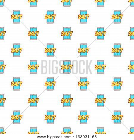 Round the clock phone support pattern. Cartoon illustration of round the clock phone support vector pattern for web
