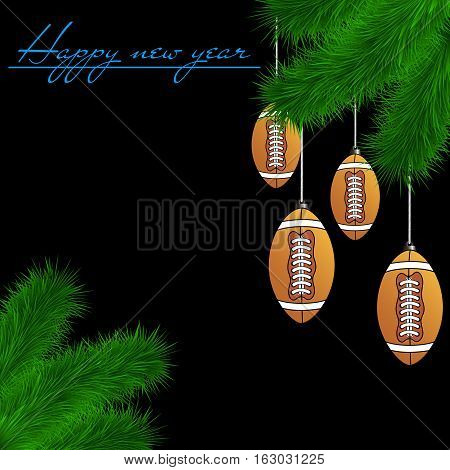 Football Balls On Christmas Tree Branch