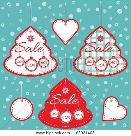 Super Sale special offer vector banner. Market shop poster design Christmas or New year card sale. Holiday card template label tag