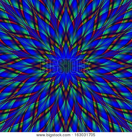 Stained glass blue flower mandala. Digitally generated fractal mandala looks like stained glass ornament with frosted surface.