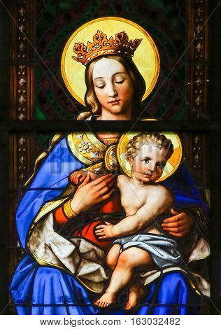 Stained Glass - Madonna And Child