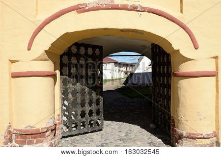 Old medieval gate in Kirillo-Belozersky monastery by day near City Kirillov Vologda region Russia.