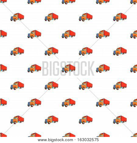 Trailer truck pattern. Cartoon illustration of trailer truck vector pattern for web