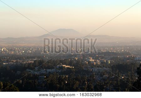 Top view of the city of Addis Ababa, Ethiopia