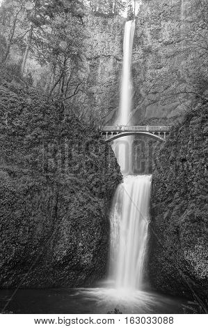 Multnomah Falls in Northwestern Oregon and the footbridge across on a spring day.