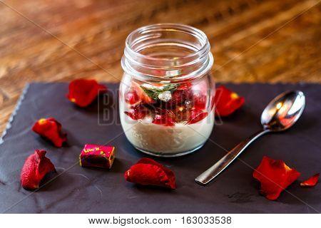 Dessert. Yogurt With Strawberries In A Jar.
