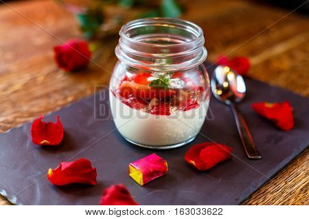 Dessert. Yogurt With Strawberries In A Jar.