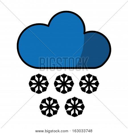 cloud with snowflakes climate sign isolated icon vector illustration design