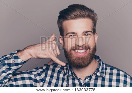 Young Handsome Boyfriend Show Sight Call Me With Fingers And Flirt