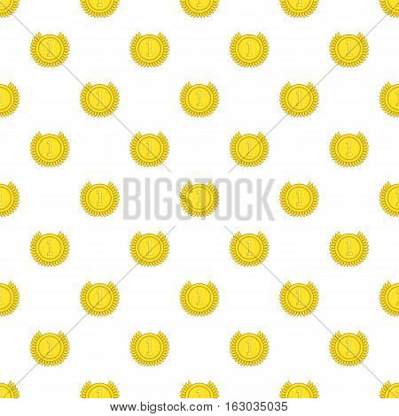 Medal for first place pattern. Cartoon illustration of medal for first place vector pattern for web