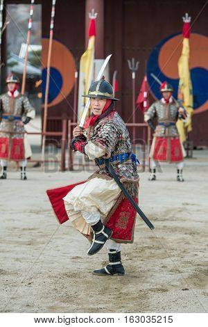 Gyeonggi-do, Suwon-si, South Korea - December 23, 2016: Traditional Martial Arts Trial Performance,