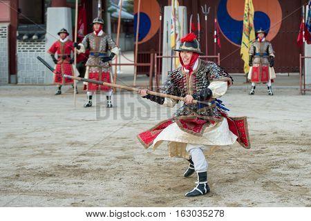 Gyeonggi-do, Suwon-si, South Korea - December 23, 2016: Traditional Martial Arts Trial Performance,