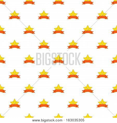 Gold star cup pattern. Cartoon illustration of gold star cup vector pattern for web