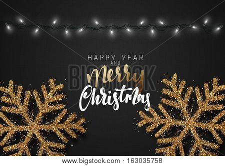 Christmas background black color with realistic garlands and beautiful snowflakes. Xmas Holiday. Merry Christmas. and Happy New Year
