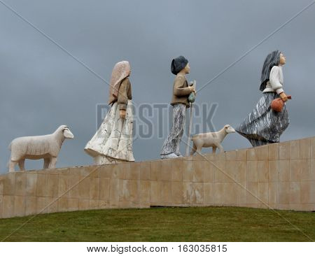 Three Shepherd Children's monument, Fátima, Portugal. Lucia, Francisco and Jacinta