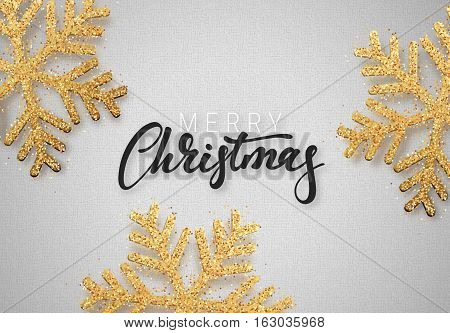 Christmas background gray color with beautiful snowflakes. Template christmas greeting card. Xmas Holiday and Happy New Year