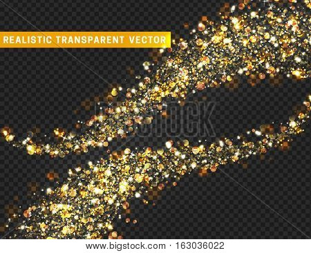 Magic light effect texture. Realistic particle glitter stars, hearts, circles spots. Beautiful bright design element for cards. Decoration on holidays Christmas, Valentine's Day. Isolated glitter