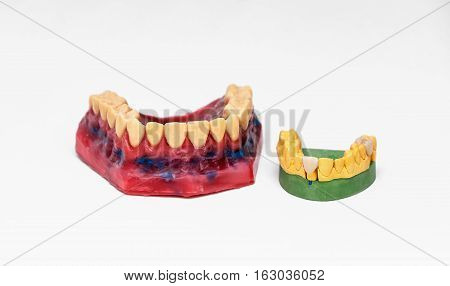 Technical shots of models on a dental prothetic laboratory